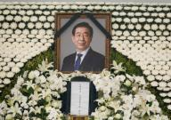 Park Won-Soon, July 13, 2020 : The portrait of late Seoul Mayor Park Won-Soon is seen at the memorial altar during his funeral in Seoul, South Korea. The funeral was broadcast online to prevent possible infection of Covid-19 corona virus among attendees. Park Won-Soon was three-term mayor and was regarded as a potential presidential candidate. He was found dead in a suicide on a mountain near his residence early July 10, hours after he was reported missing by his family. Local media reported Park was accused of sexually harassing his former female assistant. (Photo by Lee Jae-Won\/AFLO) (SOUTH KOREA