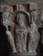 Capitel del claustro del Monasterio de San Cugat, S.XI-XII. Autor: ARNAU CADELL.Capitel del claustro del Monasterio de San Cugat, S.XI-XII. Author: ARNAU CADELL.. Album / Ramon Manent. .