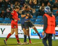 21st February 2020; AJ Bell Stadium, Salford, Lancashire, England; Premiership Rugby, Sale Sharks versus Leicester Tigers; Marlon Yarde of Sale Sharks celebrates after scoring Sale