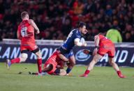 21st February 2020; AJ Bell Stadium, Salford, Lancashire, England; Premiership Rugby, Sale Sharks versus Leicester Tigers; Denny Solomona of Sale Sharks is tackled by Kyle Eastmond of Leicester Tigers
