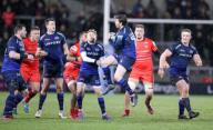 21st February 2020; AJ Bell Stadium, Salford, Lancashire, England; Premiership Rugby, Sale Sharks versus Leicester Tigers; Simon Hammersley of Sale Sharks jumps to tkae a high ball for