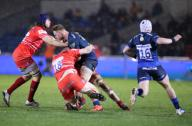 21st February 2020; AJ Bell Stadium, Salford, Lancashire, England; Premiership Rugby, Sale Sharks versus Leicester Tigers; Jean-Luc du Preez of Sale Sharks is tackled by Leicester three