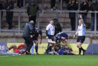 21st February 2020; AJ Bell Stadium, Salford, Lancashire, England; Premiership Rugby, Sale Sharks versus Leicester Tigers; Marlon Yarde of Sale Sharks scores his second of three