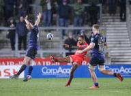 21st February 2020; AJ Bell Stadium, Salford, Lancashire, England; Premiership Rugby, Sale Sharks versus Leicester Tigers; Telusa Veainu of Leicester Tigers kicks down field as Luke James of Sale Sharks jumps to try to