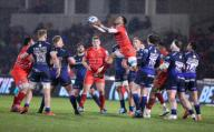 21st February 2020; AJ Bell Stadium, Salford, Lancashire, England; Premiership Rugby, Sale Sharks versus Leicester Tigers; Jordan Olowofela of Leicester Tigers rises high to take the