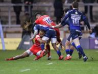 21st February 2020; AJ Bell Stadium, Salford, Lancashire, England; Premiership Rugby, Sale Sharks versus Leicester Tigers; Marlon Yarde of Sale Sharks is high tackled by Noel Reid of Leicester Tigers who received a yellow card for the
