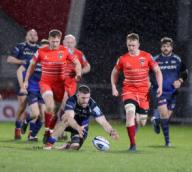 21st February 2020; AJ Bell Stadium, Salford, Lancashire, England; Premiership Rugby, Sale Sharks versus Leicester Tigers; Mark Wilson of Sale Sharks tidies up a loose ball for