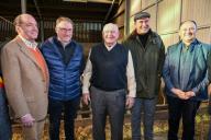 U.S. Ambassador to the Kingdom of Belgium Ronald J. Gidwitz (L), Mister Coheur, the farmer (L2), George