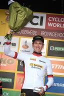 Belgian Toon Aerts pictured on the podium after the men