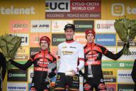 Belgian Eli Iserbyt, Belgian Toon Aerts and Belgian Michael Vanthourenhout pictured on the podium after the men