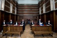 Lawyer Lisa-Marie Parmentier, Lawyer Ruben Vispoel, Lawyer Jan Leysen, Lawyer Charlotte De Boeck, lawyer Kjell Verleysen and Lawyer Bart Verbelen pictured during the verdict in the case of five men accused of owning, creating and distributing child pornography, child abuse and human trafficking, at the correctional court in Dendermonde, Tuesday 31 March 2020. BELGA PHOTO JASPER JACOBS