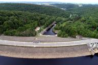 Aerial drone picture shows the Gileppe Dam in Jalhay, Monday 25 May 2020. BELGA PHOTO ERIC LALMAND