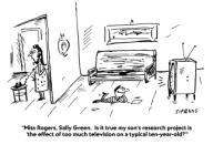 âMiss Rogers, Sally Green. Is it true my sonâs research project is âthe effect of too much television on a typical ten-year-old?ââ