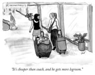 """It\'s cheaper than coach, and he gets more legroom."""