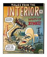 A bookcover for Tales From The Interior where a giant man\/creature, based on Secretary of the Interior, Ryan Zinke, is breaking through the crust of the earth and grabbing trees in National Parks.