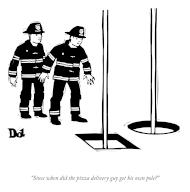 """""""Since when did the pizza delivery guy get his own pole"""