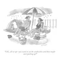 """""""O.K., all set up – you want to eat the sandwiches and then maybe start packing up"""