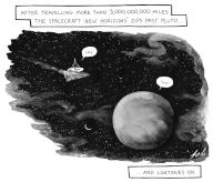 After traveling more than 3,000,000,000 miles the spacecraft \'New Horizons\' zips past Pluto...and continues on