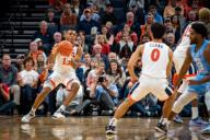 December 8, 2019: Virginia Guard Casey Morsell (13) during the NCAA Basketball game between the University of North Carolina Tar Heels and University of Virginia Cavaliers at John Paul Jones Arena in Charlottesville, VA. Brian McWalters/