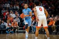December 8, 2019: North Carolina Guard Cole Anthony (2) during the NCAA Basketball game between the University of North Carolina Tar Heels and University of Virginia Cavaliers at John Paul Jones Arena in Charlottesville, VA. Brian McWalters/