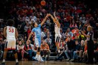 December 8, 2019: Virginia Guard Kihei Clark (0) during the NCAA Basketball game between the University of North Carolina Tar Heels and University of Virginia Cavaliers at John Paul Jones Arena in Charlottesville, VA. Brian McWalters/