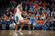 December 8, 2019: North Carolina Guard Leaky Black (1) during the NCAA Basketball game between the University of North Carolina Tar Heels and University of Virginia Cavaliers at John Paul Jones Arena in Charlottesville, VA. Brian McWalters/
