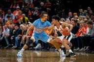 December 8, 2019: Virginia Guard Kihei Clark (0) and North Carolina Guard Cole Anthony (2) during the NCAA Basketball game between the University of North Carolina Tar Heels and University of Virginia Cavaliers at John Paul Jones Arena in Charlottesville, VA. Brian McWalters/