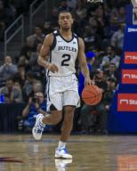 Saturday Jan 18 - Butler Bulldogs guard Aaron Thompson (2)brings the ball down court during the NCAA game between the Butler Bulldogs and the DePaul University Blue Demons at Wintrust Arena in Chicago IL. Gary E. Duncan Sr/