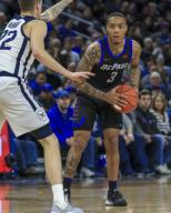 Saturday Jan 18 - DePaul Blue Demons guard Devin Gage (3) looks over the defense during the NCAA game between the Butler Bulldogs and the DePaul University Blue Demons at Wintrust Arena in Chicago IL. Gary E. Duncan Sr/