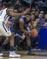 Saturday Jan 18 - DePaul Blue Demons guard Jalen Coleman-Lands (5) looks over the defense during the NCAA game between the Butler Bulldogs and the DePaul University Blue Demons at Wintrust Arena in Chicago IL. Gary E. Duncan Sr/