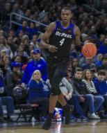 Saturday Jan 18 - DePaul Blue Demons forward Paul Reed (4) pushes the ball during the NCAA game between the Butler Bulldogs and the DePaul University Blue Demons at Wintrust Arena in Chicago IL. Gary E. Duncan Sr/
