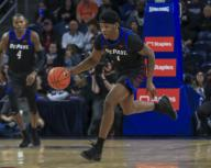 Saturday Jan 18 - DePaul Blue Demons forward Romeo Weems (1) races down the court after coming up with a steal during the NCAA game between the Butler Bulldogs and the DePaul University Blue Demons at Wintrust Arena in Chicago IL. Gary E. Duncan Sr/