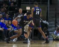 Saturday Jan 18 - DePaul Blue Demons forward Romeo Weems (1) drives to the basket during the NCAA game between the Butler Bulldogs and the DePaul University Blue Demons at Wintrust Arena in Chicago IL. Gary E. Duncan Sr/