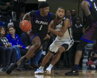 Saturday Jan 18 - DePaul Blue Demons forward Romeo Weems (1) makes a drive during the NCAA game between the Butler Bulldogs and the DePaul University Blue Demons at Wintrust Arena in Chicago IL. Gary E. Duncan Sr/