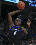 Saturday Jan 18 - DePaul Blue Demons forward Paul Reed (4) grabs a rebound during the NCAA game between the Butler Bulldogs and the DePaul University Blue Demons at Wintrust Arena in Chicago IL. Gary E. Duncan Sr/