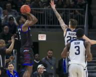 Saturday Jan 18 - DePaul Blue Demons guard Jalen Coleman-Lands (5) shoots a jump shot during the NCAA game between the Butler Bulldogs and the DePaul University Blue Demons at Wintrust Arena in Chicago IL. Gary E. Duncan Sr/