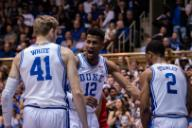January 18, 2020: Duke Forward Javin DeLaurie (12) celebrates during the NCAA Basketball game between the Louisville Cardinals and Duke Blue Devils at Cameron Indoor Stadium in Durham, NC. Brian McWalters/