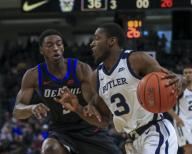 Saturday Jan 18 - Butler Bulldogs guard Kamar Baldwin (3)drives to the basket during the NCAA game between the Butler Bulldogs and the DePaul University Blue Demons at Wintrust Arena in Chicago IL. Gary E. Duncan Sr/
