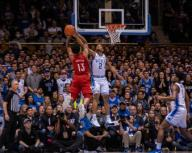 January 18, 2020: Duke Guard Cassius Stanley (2) goes for the block against Louisville Guard David Johnson (13) during the NCAA Basketball game between the Louisville Cardinals and Duke Blue Devils at Cameron Indoor Stadium in Durham, NC. Brian McWalters/
