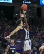 Saturday Jan 18 - Butler Bulldogs guard Kamar Baldwin (3)shoots a jump shot during the NCAA game between the Butler Bulldogs and the DePaul University Blue Demons at Wintrust Arena in Chicago IL. Gary E. Duncan Sr/