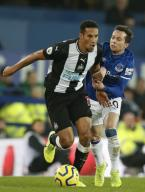 January 21, 2020, Liverpool, United Kingdom: Bernard of Everton challenges Isaac Hayden of Newcastle United during the Premier League match at Goodison Park, Liverpool. Picture date: 21st January 2020. Picture credit should read: Darren Staples/