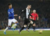 January 21, 2020, Liverpool, United Kingdom: Miguel Almiron of Newcastle United runs from Mason Holgate of Everton during the Premier League match at Goodison Park, Liverpool. Picture date: 21st January 2020. Picture credit should read: Darren Staples/