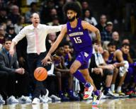 January 25, 2020: Washington Huskies guard Marcus Tsohonis (15) brings the ball up the court in the menââ¬â¢s basketball game between Colorado and Washington at the Coors Events Center in Boulder, CO. Colorado won 76-62. Derek Regensburger/CSM.