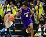 January 25, 2020: Washington Huskies forward Jaden McDaniels (0) brings the ball up the court in the menââ¬â¢s basketball game between Colorado and Washington at the Coors Events Center in Boulder, CO. Colorado won 76-62. Derek Regensburger/CSM.