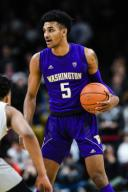 January 25, 2020: Washington Huskies guard Jamal Bey (5) looks to make a play in the menââ¬â¢s basketball game between Colorado and Washington at the Coors Events Center in Boulder, CO. Colorado won 76-62. Derek Regensburger/CSM.