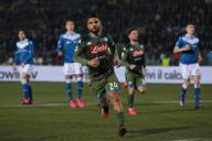 February 21, 2020, Brescia, United Kingdom: Lorenzo Insigne of Napoli celebrates after scoring from the penalty spot to level the game at 1-1 during the Serie A match at Stadio Mario Rigamonti, Brescia. Picture date: 21st February 2020. Picture credit should read: Jonathan Moscrop/