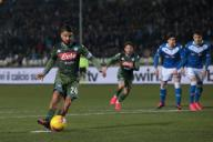 February 21, 2020, Brescia, United Kingdom: Lorenzo Insigne of Napoli scores from the penalty spot to level the game at 1-1 during the Serie A match at Stadio Mario Rigamonti, Brescia. Picture date: 21st February 2020. Picture credit should read: Jonathan Moscrop/