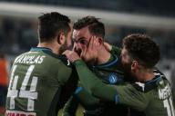 February 21, 2020, Brescia, United Kingdom: Fabian Ruiz of Napoli celebrates with team mates after scoring to give the side a 2-1 lead during the Serie A match at Stadio Mario Rigamonti, Brescia. Picture date: 21st February 2020. Picture credit should read: Jonathan Moscrop/