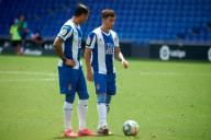 Raul de Tomas with Adrian Embarba of RCD Espanyol during the Liga match between RCD Espanyol and SD Eibar at RCD Stadium on July 12, 2020 in Barcelona, Spain. (Photo by DAX\/ESPA-Images