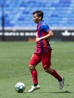 BARCELONA, SPAIN - JULY 12:.Takashi Inui of SD Eibar in action during the Liga match between RCD Espanyol and SD Eibar at RCD Stadium on July 12, 2020 in Barcelona, Spain. (Photo by DAX\/ESPA-Images